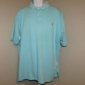 Polo Ralph Lauren Shirt Blue Peach Size XL